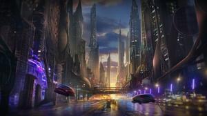 Street Futuristic Night 1920x1080 wallpaper