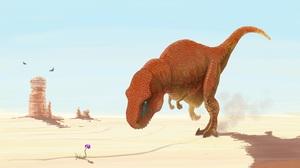 Dinosaur Desert Flower Tyrannosaurus Rex 4000x2272 Wallpaper