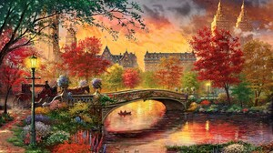 Bow Bridge Bridge Central Park Colorful Fall Horse Drawn Vehicle New York Painting Retro River Vinta 2700x1819 Wallpaper