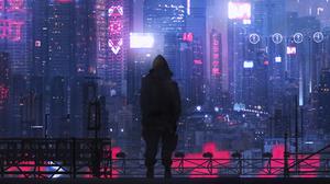 Building City Cyberpunk Cityscape Futuristic Man Night Skyscraper 3000x1349 Wallpaper