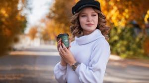 Brunette Depth Of Field Girl Hat Model Woman 3915x2610 wallpaper