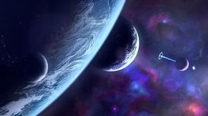 Space 3D Galaxy Planet Purple 7680x4320 Wallpaper