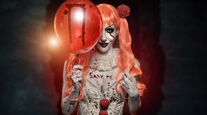Horror Clown Women Model Balloon Makeup Looking At Viewer 500px Red Lipstick It Movie 2048x1367 Wallpaper