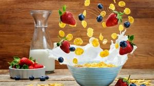 Berry Blueberry Breakfast Fruit Milk Muesli Still Life Strawberry 6016x3985 Wallpaper