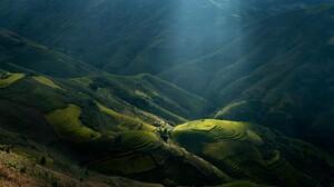 Mountains Vietnam Sunlight Landscape Sun Rays Terraces Rice Paddy Nature Green Valley 1920x1200 Wallpaper