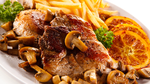 French Fries Meal Meat Mushroom 5616x3744 wallpaper