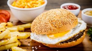 Burger Egg French Fries Still Life 6720x4480 wallpaper