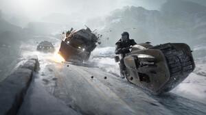 Science Fiction Futuristic Vehicle Road Winter Snow Mountains Digital Artwork Explosion Destruction  3840x1866 Wallpaper
