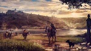 Kingdom Come Deliverance Artwork Knight Warrior City Medieval Castle Horse Horseman Horse Riding 2025x1080 Wallpaper