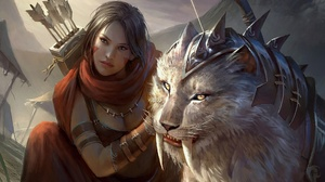 Artwork Women Fantasy Art Fantasy Girl Big Cats Animals Creature Brunette Legend Of The Cryptids 1920x1200 Wallpaper