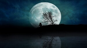 Alone Girl Lonely Moon Night Silhouette Tree 1600x1150 wallpaper