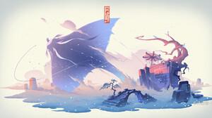Jun Zhang Asian Architecture White Background Fisherman Digital Art Manta Rays Snow 1920x1008 Wallpaper