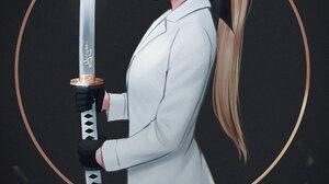 Yajuu White Coat Sword Long Hair Blond Hair Oni Mask Simple Background ArtStation 2100x2603 Wallpaper