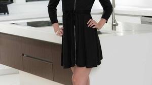 Women Dress Blonde Standing Smiling Smoky Eyes Black Dress 900x1350 Wallpaper