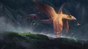 Dragon Animals Fantasy Art Wings Dark 5600x3272 Wallpaper