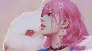 Rabbits Women Artwork Lollipop 3840x2160 wallpaper