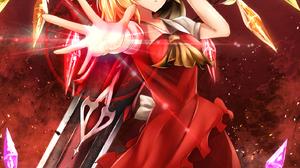 Touhou Flandre Scarlet Anime Girls Sinkai Blonde Red Eyes Dress Red Dress Wings Weapon 1415x2047 Wallpaper