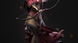 Cifangyi CGi Women Dark Hair Long Hair Hair Accessories Looking At Viewer Archer Armor Bow Arrows Le 3840x4158 Wallpaper