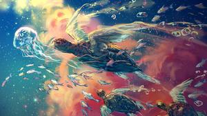 Digital Painting Turtle Fish Clouds Fantasy Art Yuumei 1997x1338 Wallpaper