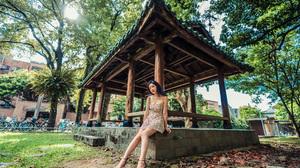 Asian Model Women Women Outdoors Long Hair Dark Hair Pavilion Sitting Barefoot Sandal Heels Tattoo D 2560x1707 Wallpaper