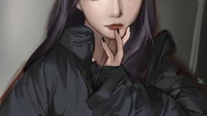 Eunah Kang Hand On Face Drawing Portrait Display Women Digital Painting Blonde Digital Art Long Hair 1920x2648 Wallpaper