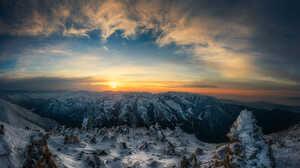 Earth Mountain Rock Snow Sunset Winter 2000x1587 Wallpaper