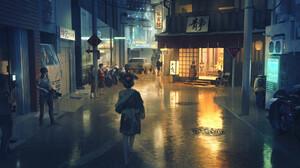 Kimono Night Street Girl 1920x1080 Wallpaper