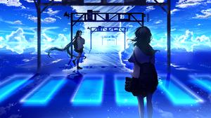 Anime Anime Girls Sky Clouds School Uniform 7441x3378 Wallpaper