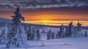 Landscape Nature Norway Snow Sunrise 2048x1298 Wallpaper
