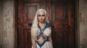 Women Model Blonde Cosplay Daenerys Targaryen Game Of Thrones Dress White Dress Portrait Indoors Wom 2250x1500 Wallpaper