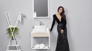Girl Model Brunette Indian Actress Bollywood Long Hair Black Dress 1920x1280 Wallpaper