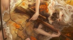 Gas Masks White Hair Long Hair Wavy Hair Dress Ribbons Roses Lying Down Wire Braided Hair Orange Eye 1920x1358 Wallpaper