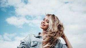 Women Portrait Blonde Smile Teeth Jean Jacket Hands In Hair Clouds 2048x1152 Wallpaper