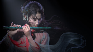 Woman Asian Flute 2732x1500 Wallpaper