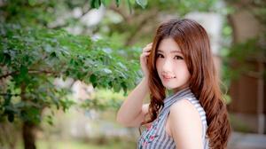 Asian Brown Eyes Depth Of Field Girl Long Hair Model Redhead Smile Woman 4000x2668 Wallpaper