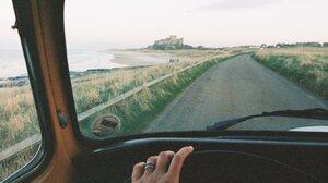 Road Driving Inside A Car Steering Wheel Portrait Display 1372x2048 Wallpaper