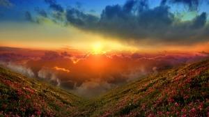 Cloud Flower Nature Panorama Scenery Scenic Sky Sun Sunset 1920x1200 Wallpaper