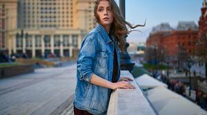 Sergey Fat Women Ksenia Kokoreva Brunette Long Hair Wavy Hair Wind Looking Away Denim Jacket Outdoor 1920x1200 Wallpaper