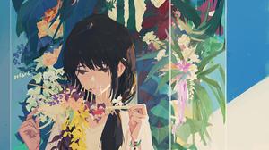 XilmO Anime Girls Flowers Anime Dress Dark Hair Standing Plants 1193x1687 Wallpaper