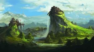 Digital Art Nature Landscape Mountains Waterfall Rock Wooden Huts 1920x1080 Wallpaper