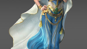 Cifangyi CGi Women Shawl Veils Gold Dress Makeup Glamour Blue Clothing Video Game Art 3545x5000 wallpaper