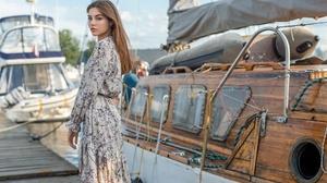 Women Women Outdoors Boat Dress Brunette Looking At Viewer Flower Dress 1920x1282 Wallpaper
