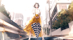 Anime Girls Anime Original Characters Women With Umbrella Long Skirt Short Hair Hair Blowing In The  2935x2088 Wallpaper