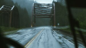 Portrait Display Rain Road Pine Trees Wet Road Forest Trees Bridge Inside A Car 1758x2197 Wallpaper