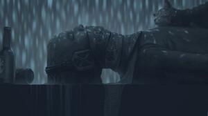 Digital Art Fantasy Art Alexey Egorov Cats Rain Bottles Monochrome 1433x900 Wallpaper