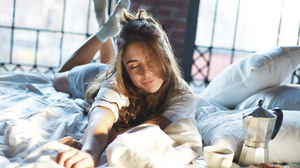 Model Women Photography Portrait Looking At Viewer Bed Coffee Closed Eyes 2160x1440 Wallpaper