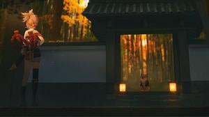 Anna Drw01 Genshin Impact Anime Anime Girls Standing Animals Sunlight Back Temple Lantern Gates Hand 1714x964 Wallpaper