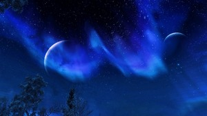 Bethesda Softworks Aurora Night Sky Moon Blue Stars Screen Shot Landscape Trees Video Games The Elde 1920x1080 Wallpaper