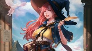 Bird Girl Pink Eyes Pink Hair Witch 4522x3839 Wallpaper