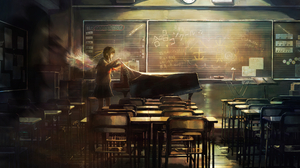 Anime Girls Anime Original Characters Schoolgirl Wings Piano Musical Instrument Classroom Blackboard 3476x2095 Wallpaper